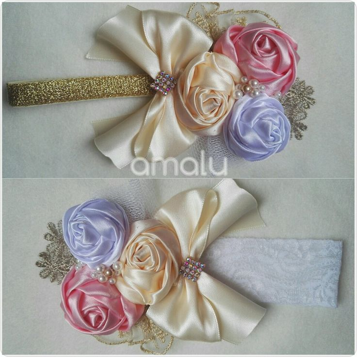 Headband rose Rosas de tela