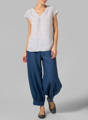 Linen Blue Perfect Cap Sleeve Top
