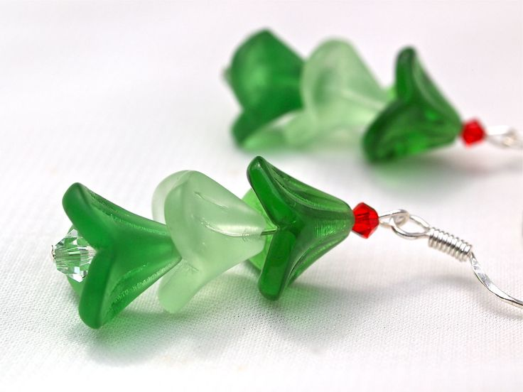 Frosted Christmas Tree Beaded Earrings
