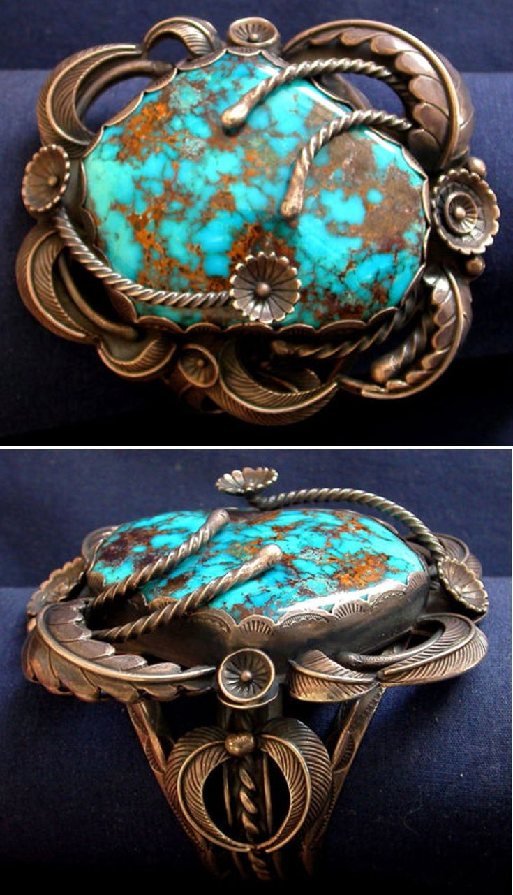 Vintage Cuff | Carl Luthy Shop (Navajo). Silver, Persian Turquoise. || Source ~ www.ebay.com/...