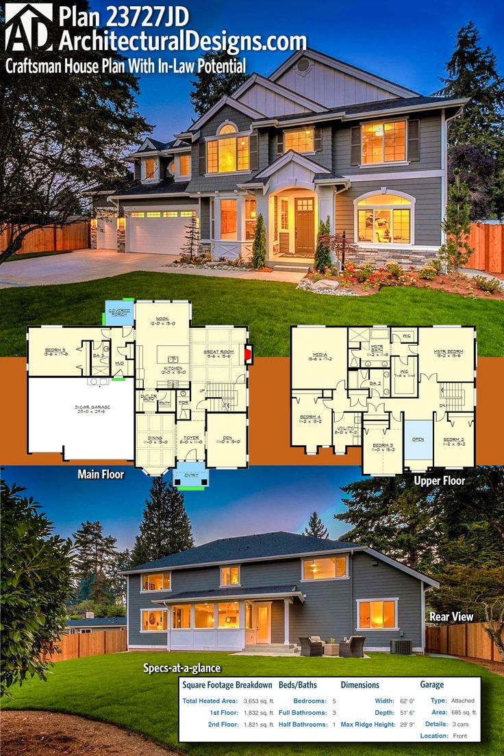 Architectural Designs Modern Farmhouse Plan 23727JD has