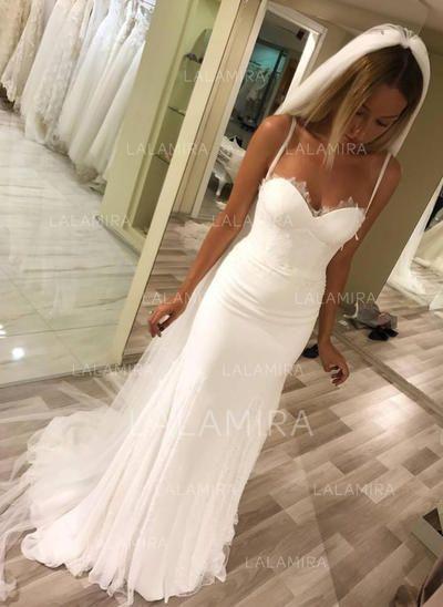 [US$ 124.99] Sheath/Column Sweetheart Sweep Train Wedding Dresses With Lace (002…