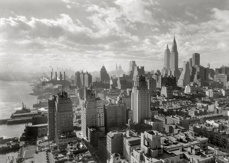 "New York. December 15, 1931. ""River House, 52nd Street and East River. Cloud study, noon, looking south from 27th floor."" 5x7 safety negative by the prolific architectural photographer Samuel H. Gottscho."