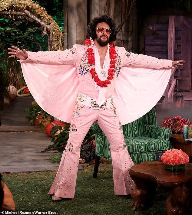 Dressed Up Like Ellen For Halloween 2020 Jason Momoa dresses up as Elvis Presleyon Ellen in 2020   Jason