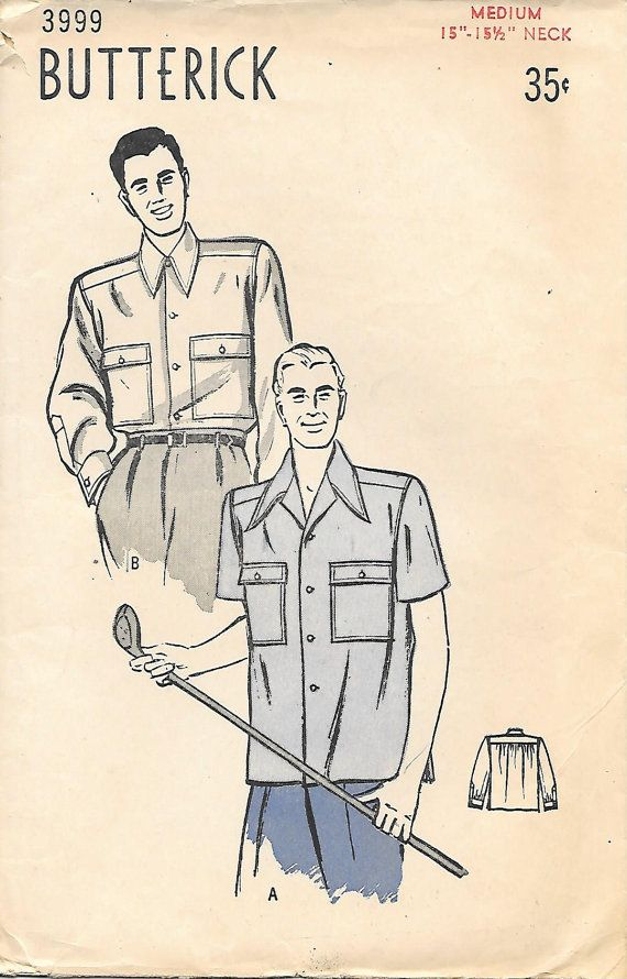 1940's Mens Sport Shirt Butterick 3999 Sewing Pattern, offered on Etsy by GrandmaMadeWithLove