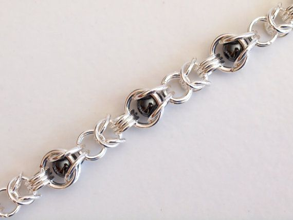 Byzantine Caged Hematite Silver Chainmaille Bracelet by PJsPrettys