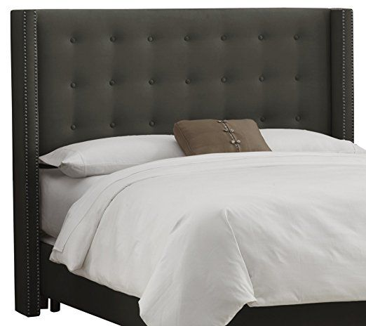 Skyline Furniture Nail Button Tufted Wingback California King Headboard in Velvet Pewter