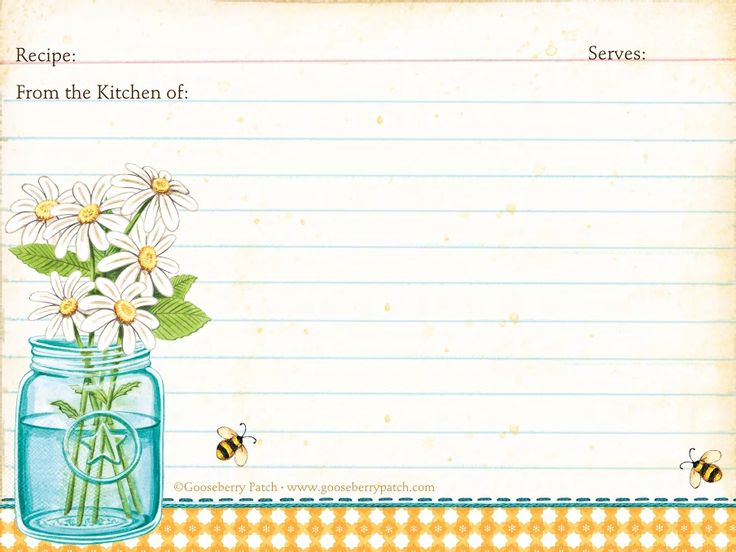FREE printable: Summer Recipe Cards from Gooseberry Patch