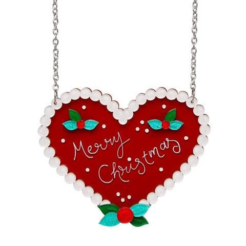 """Erstwilder Collectable Festive Ginger Heart Necklace. """"Cookie or cake? Whatever the designation,this sometimes spicy, sometimes sweet, sugar treat is something we just can't wait to eat."""""""