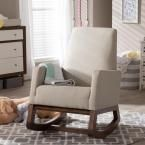 Baxton Studio Yashiya Mid-Century Gray Fabric Upholstered Rocking Chair-28862-6817-HD - The Home Depot