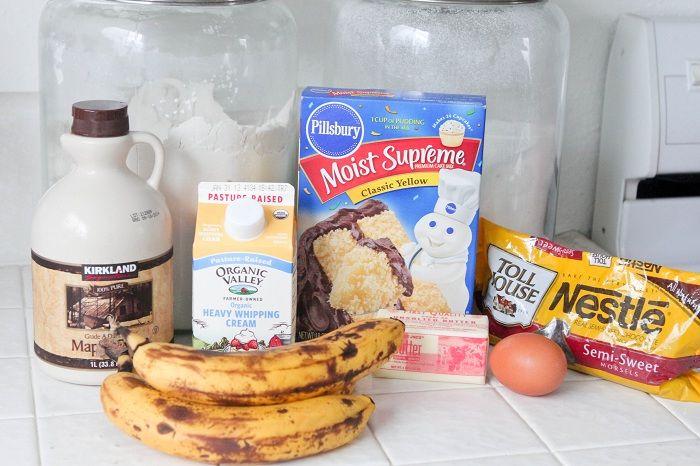 Banana Chocolate Chip Sheet Cake with Sweet Maple Icing | Recipe
