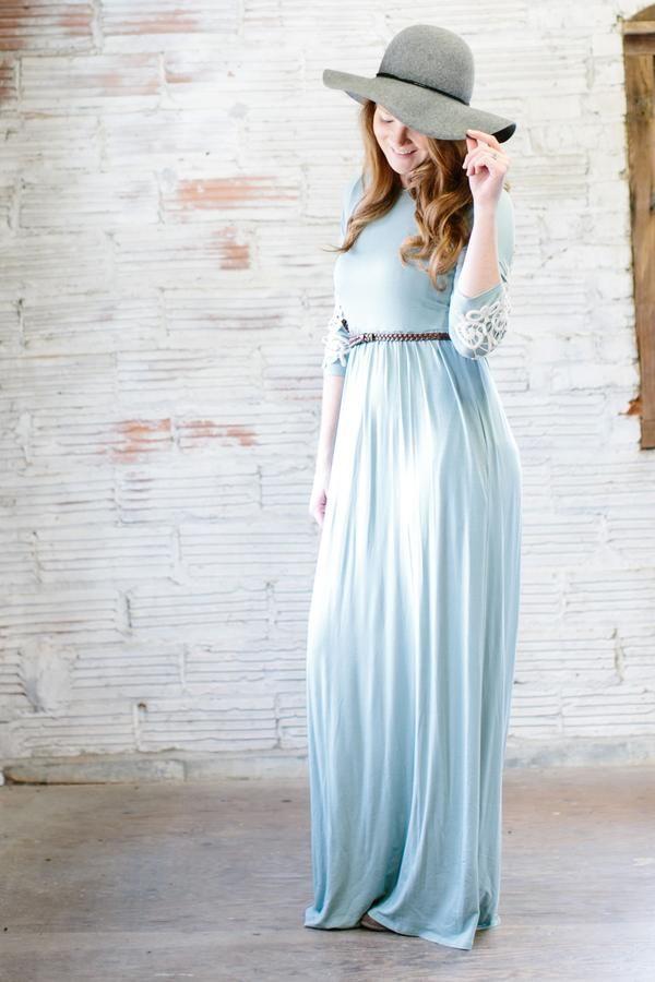 'Bridget' Crochet Sleeve Long Modest Maxi Dress in Sage - FINAL SALE