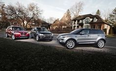 2013 BMW X3 xDrive28i vs. 2013 Audi Q5 2.0T, 2013 Land Rover Range Rover Evoque comparison photographed for Car and Driver.