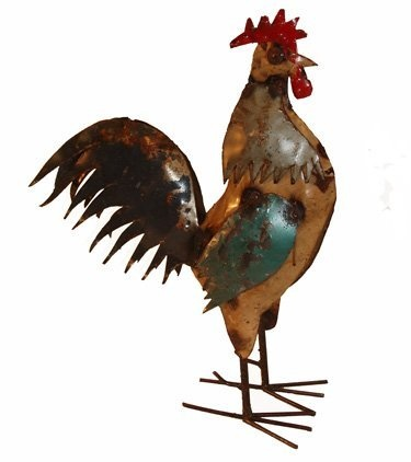 Small Americana Rooster : Recycled Metal Animal Garden Art Sculpture