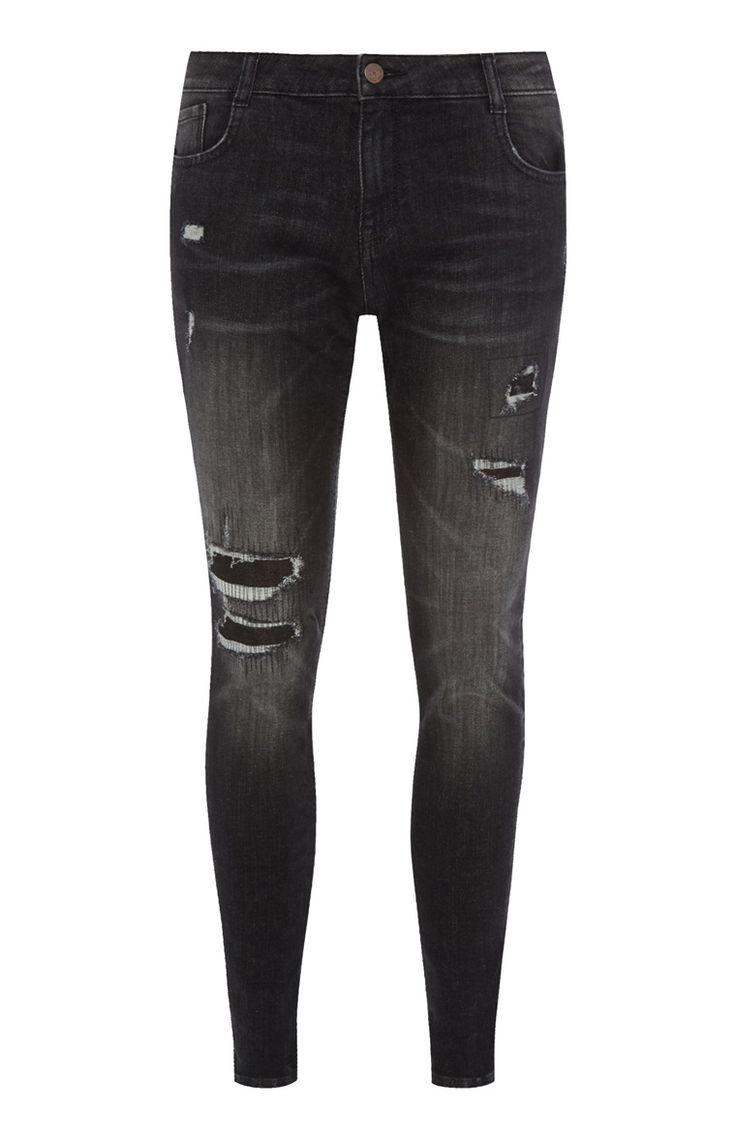 Zwarte skinny jeans met scheuren