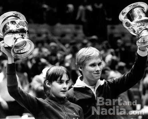 Bart Conner and Nadia Comaneci (1976). Note: I'm sure they never realized they were destined to get married!