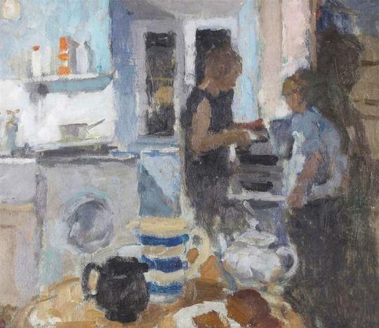 Bernard Dunstan R.A., (b.1920), The Kitchen II