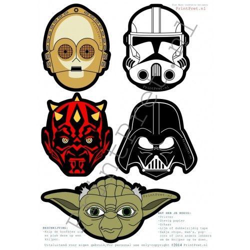 Star Wars toppers of traktatie knijpers zijn onderdeel van het zelf te printen Star Wars feestpakket van www.Printpret.nl