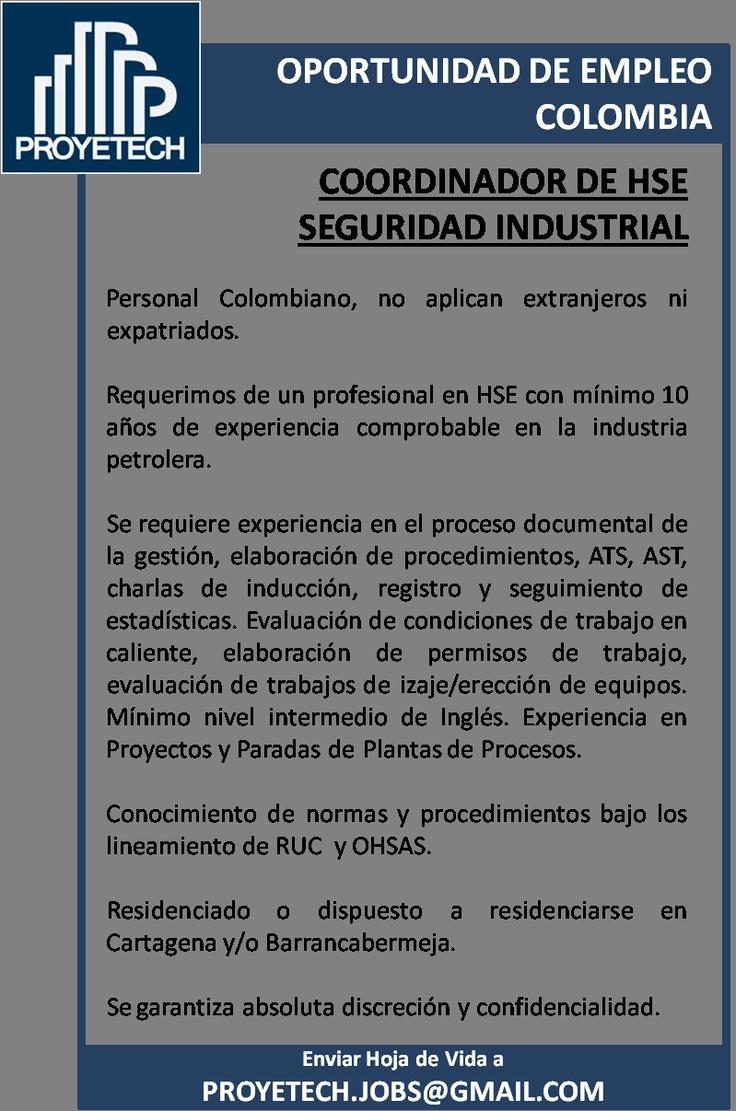 Colombia: Buscamos Coordinador de HSE. Experiencia en Petroleo. Paradas de Planta