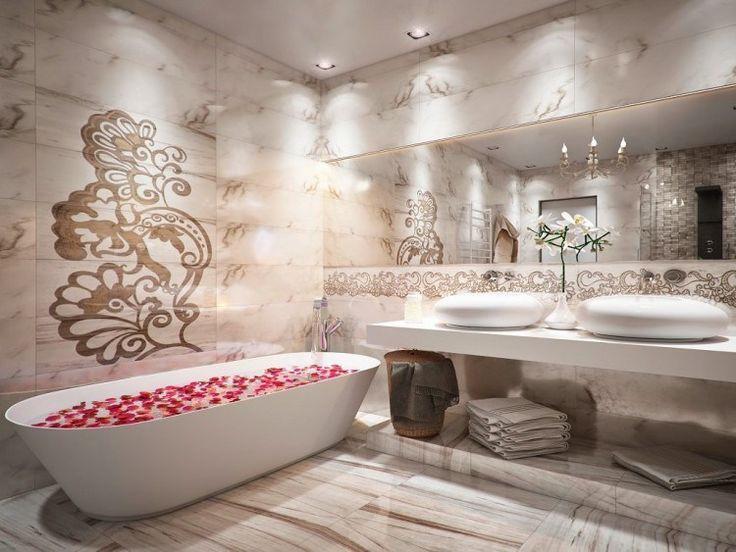 agencement salle de bain de luxe avec carrelage imitation marbre et  baignoire îlot