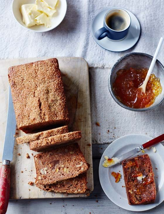 Fig, orange and walnut breakfast loaf - sweet, spiced and delicious