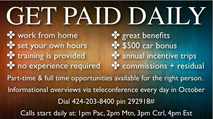 Get paid daily! | LegalShield - My Other Business | Pinterest