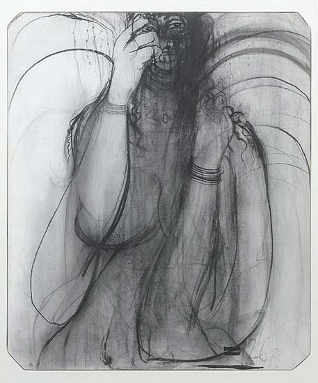 """""""Gambella"""" in 1973 by Brett Whiteley. Watercolour and charcoal"""