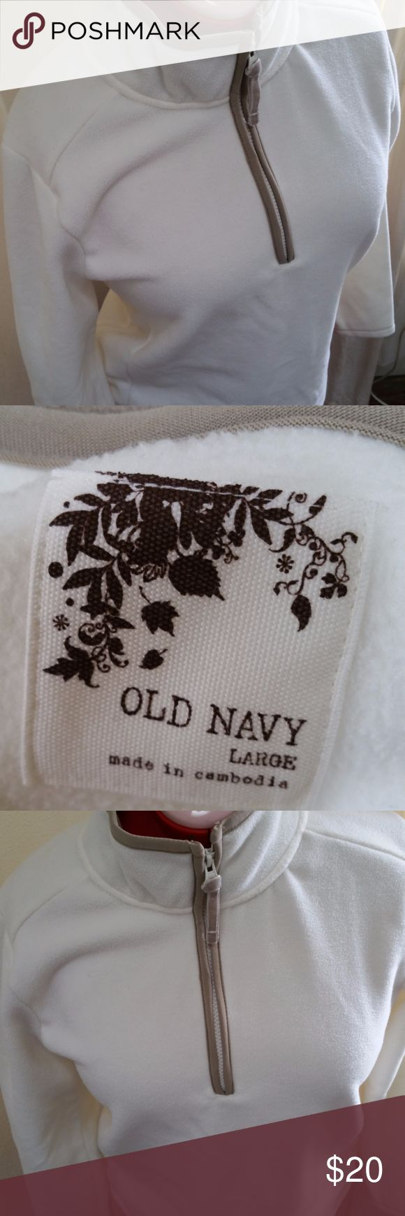 Old Navy Fleece Pullover White & tan fleece pullover with front 1/2 zipper. NWOT. Old Navy Tops Sweatshirts & Hoodies