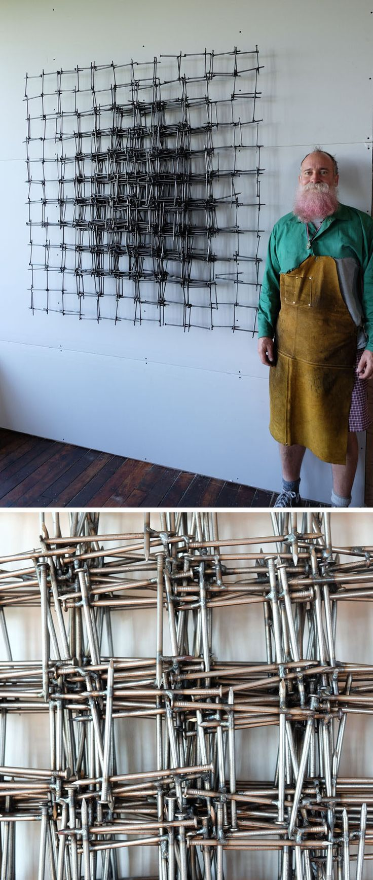 This sculpture by John Bisbee is made entirely from steel nails. Working in patterns and creating repetitions, Bisbee creates pieces that emphasize the complex relationship between the organic and geometric worlds.