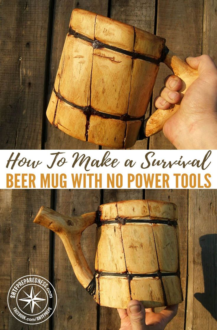 How To Make a Survival Beer Mug with no Power Tools — You know those rustic beer mugs in the movies; the wooden ones that Vikings swilled beer and mead from? If you've always wanted one of those, there's some good news that will have you swilling in no time.