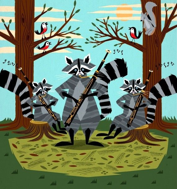 Raccoons Playing Bassoons - illustrated Limited Edition - Animal Art Print - iOTA iLLUSTRATION