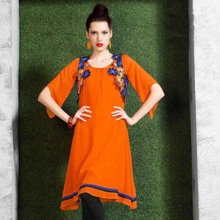 Viscose Georgette Orange Plain Aline Style Kurti #womensfashion #fashion #style #kurti #orangekurti #aline #women