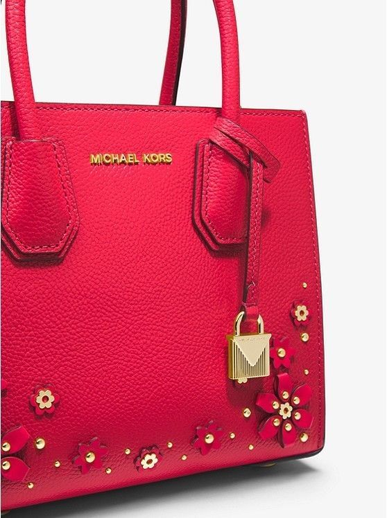 9ea10f23b768 Michael Kors - Mercer Floral Embellished Leather Crossbody - Red ...