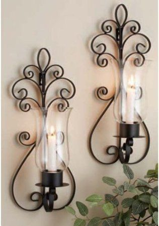 home essentials set of two 2 17inch candle holder sconces large