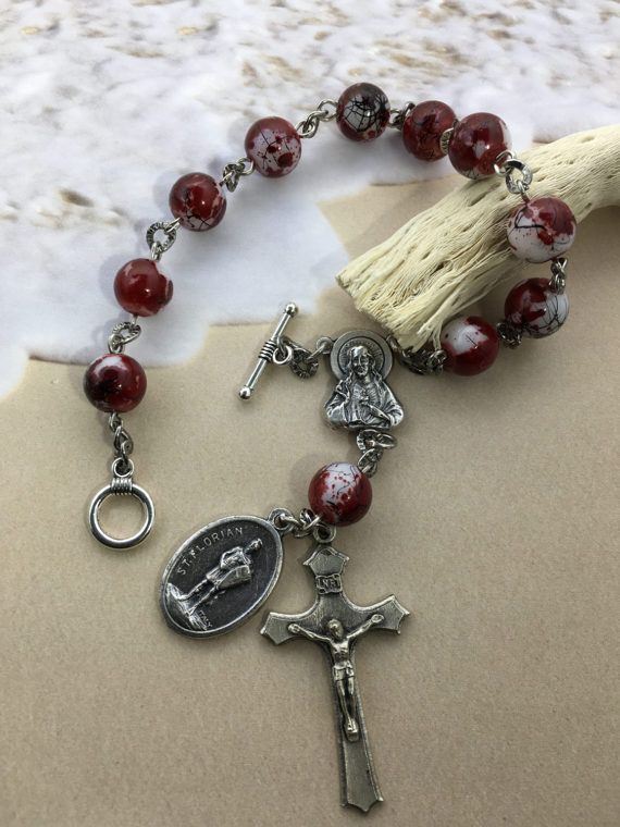 Check out this item in my Etsy shop https://www.etsy.com/listing/507197896/saint-florian-rosary-single-decade
