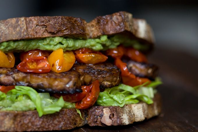Tempeh, avocado, lettuce and tomato sandwich. Hearty and smoky. Delicious alternative to BLT.