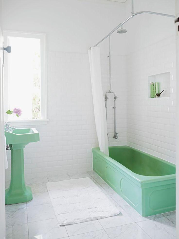 Mint-green bathrooms.