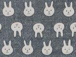 17.ダブルガーゼプリント デニム風うさぎ(グレー) 110cm巾✕1m  802円