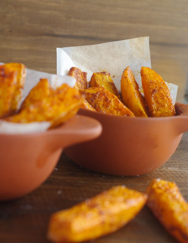 Easy spicy sweet potato wedges, serve simply with sour cream