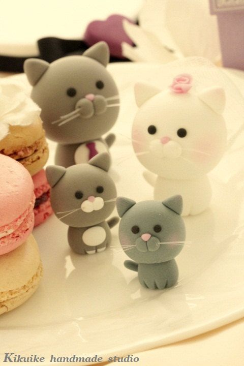 Lovely cat and kitty Wedding Cake Topper ---for the couple only. $100.00, via Etsy.