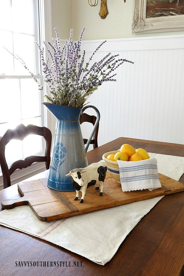Savvy Southern Style: Finally Found the Perfect Ones| French country breakfastroom| vignette| enamelware pitcher| vintage breadboard