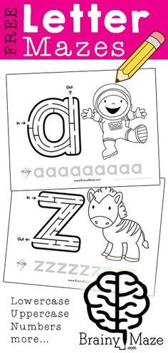 Free Letter Mazes from BrainyMaze.com  A HUGE Collection of Alphabet Mazes, uppercase, lowercase, numbers, seasonal mazes, holidays, levels of mazes and more!  Free!!
