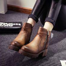 De las mujeres Del Tobillo de La Motocicleta Botas Primavera Otoño 2016 Zapatos Casuales Para Mujer de Cuero Genuino botas Militares Vintage de Alta CREMALLERA Superior(China (Mainland))