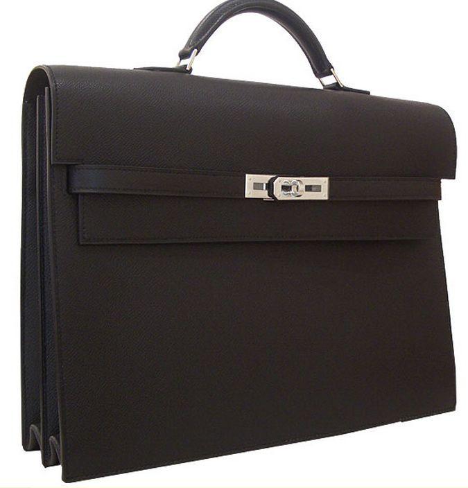 Hermes Kelly Depeches 34CM Epson Black Silver Hardware