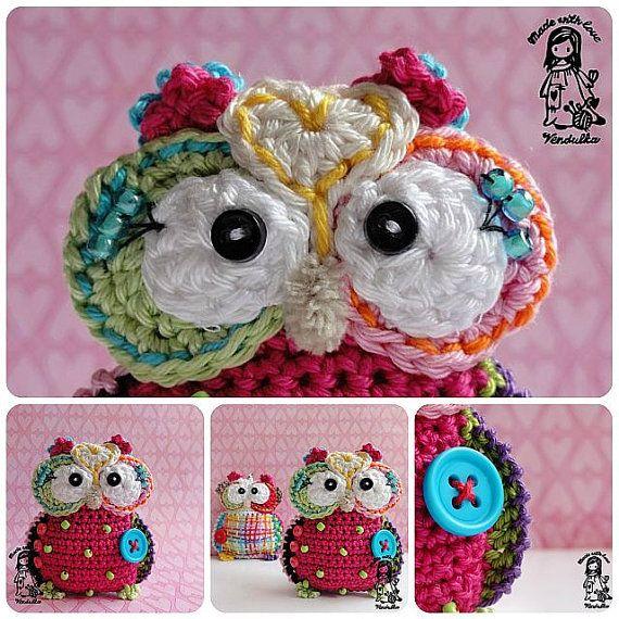 Crochet pattern  owl hanger / pendant / key chain DIY by VendulkaM, $4.80