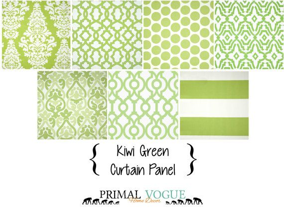 Kiwi Lime Green Curtain Panel with Rod by PrimalVogueHomeDecor
