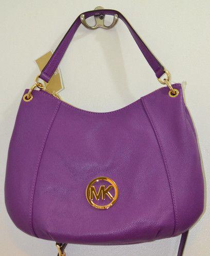 Michael Kors Fulton PURPLE Zipper Center Handbag Crossbody Purse