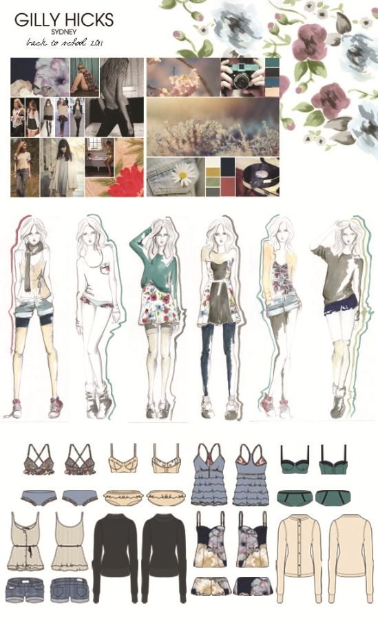 Fashion Portfolio - Gilly Hicks project, fashion design development process with research, print design & fashion illustrations; fashion sketchbook // Samantha Dover