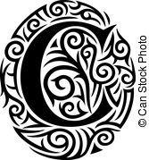 tatuaggio, c, disegno, tribale, lettera