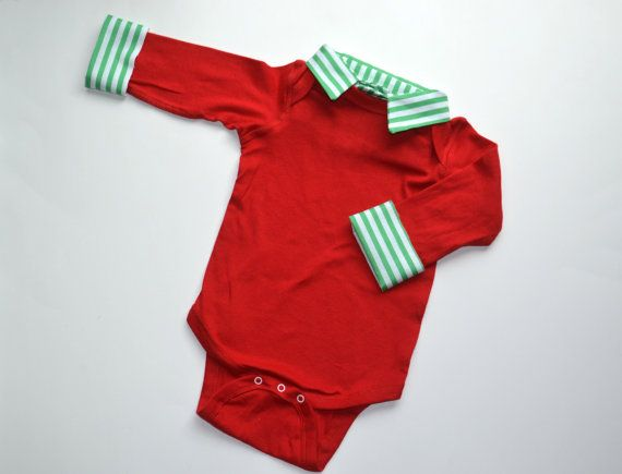 Baby Boy Christmas Outfit, First Christmas Onesie, Red and Green Stripe by BrimmerBaby on Etsy